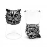 Animal Head Shot Glasses,50ml,Set of 1 York & 1 Persian Cat